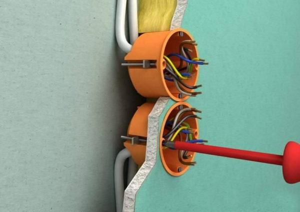 Установка розеток и выключателей в гипсокартоне