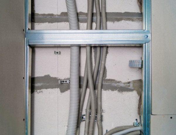 Монтаж проводки под гипсокартоном в гофре