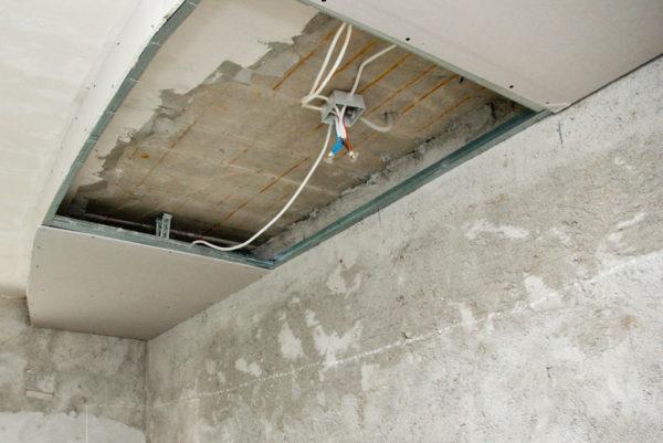 Проводка в потолке из гипсокартона