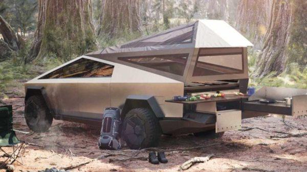 Тесла с палаткой