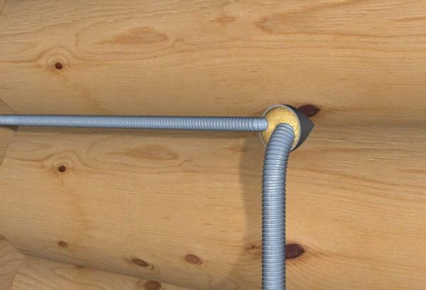 Прокладка провода через бревенчатую стену