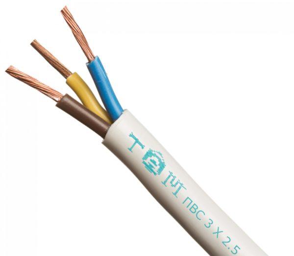 Провод соединительный ПВС 3х2,5 белый