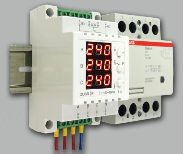 Трехфазное реле контроля напряжения ZUBR 3F