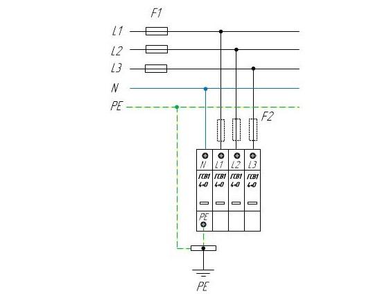 Трехфазное УЗИП по системе TN-S