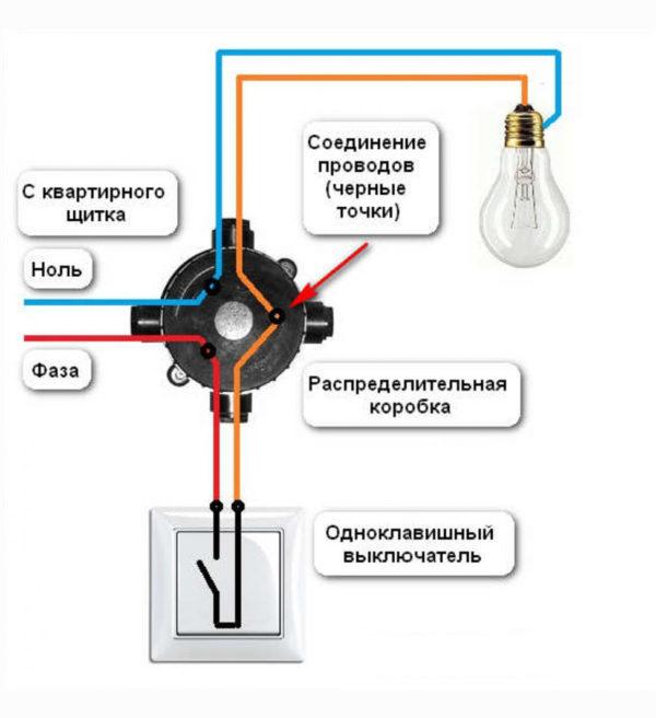 Схема проводов в распределительной коробке