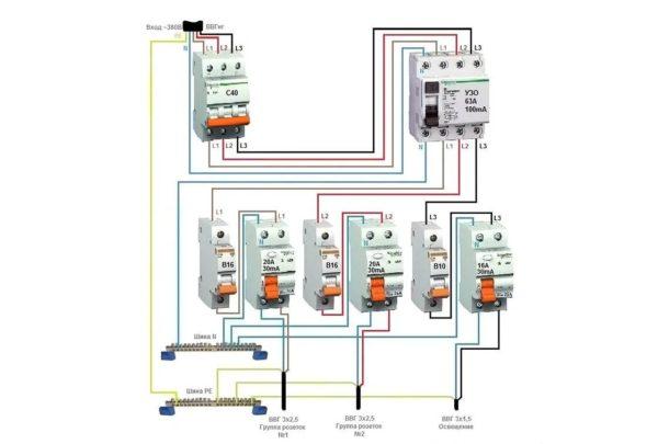 Схема подключения противопожарного УЗО