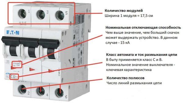 Обозначения на корпусе трехфазного автомата