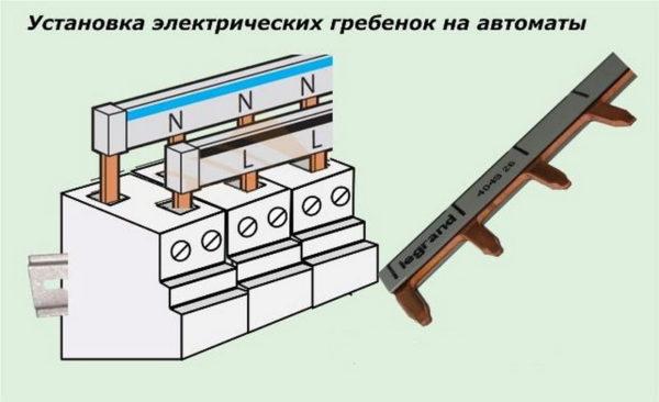 Соединение автоматов защиты с помощью гребенки