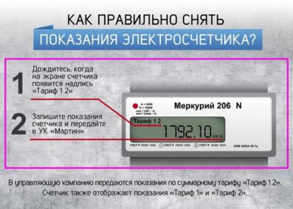 Снятие показаний по двум тарифам
